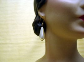 1960's Large Faux Pearl Dropper Earrings on Vermeil Earwires (ON HOLD)
